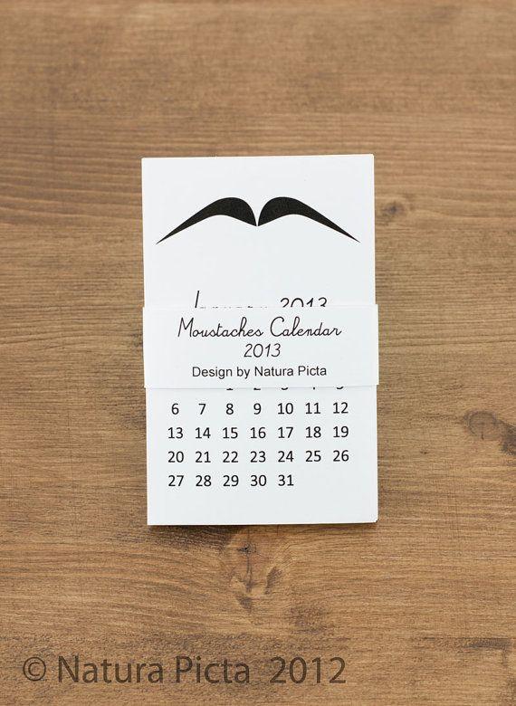 Mustache Mini Calendar  22x35 inch on White Paper  by naturapicta, $10.00
