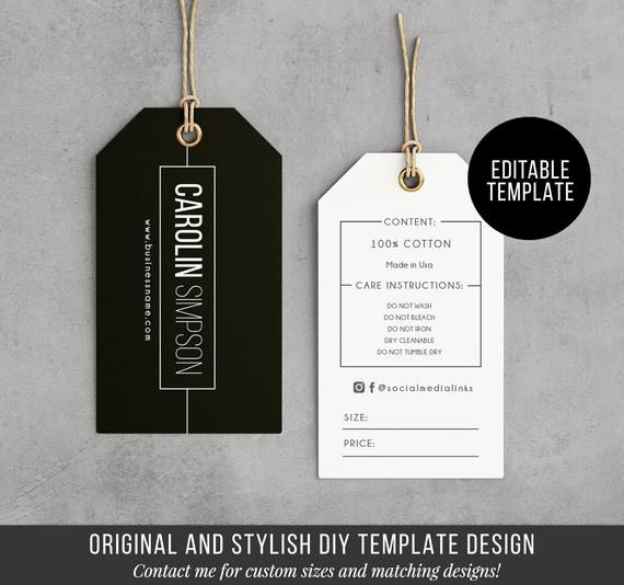Printable Hang Tag Editable Clothing Tag Price Tag Hang Tag Design Product Labels And Tags Diy Hang Tag Label 3 75x2 Template Hang Tag Design Tag Design Custom Labels