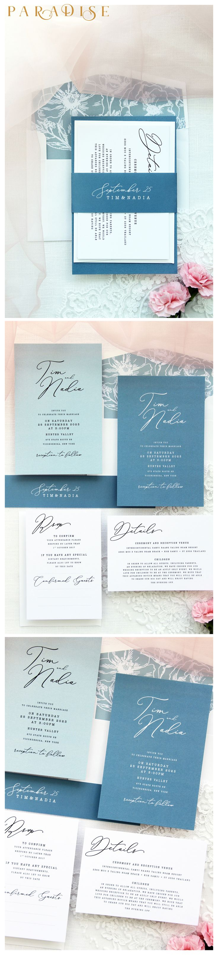 printable samples of wedding invitations%0A Nadia Sky Blue  Turquoise Calligraphy Wedding Invitation Sets  Printable  Invitations or Printed Wedding Invitations