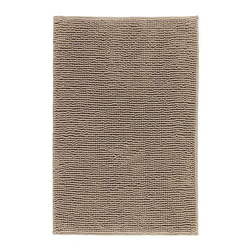 "I have this soft, microfiber bathmat that is large (35""x24"") and inexpensive at $12.99. TOFTBO Bathmat - beige - IKEA"