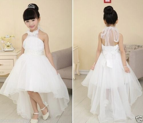 Filles-Party-demoiselle-dhonneur-Princesse-bal-mariage-robe-blanche