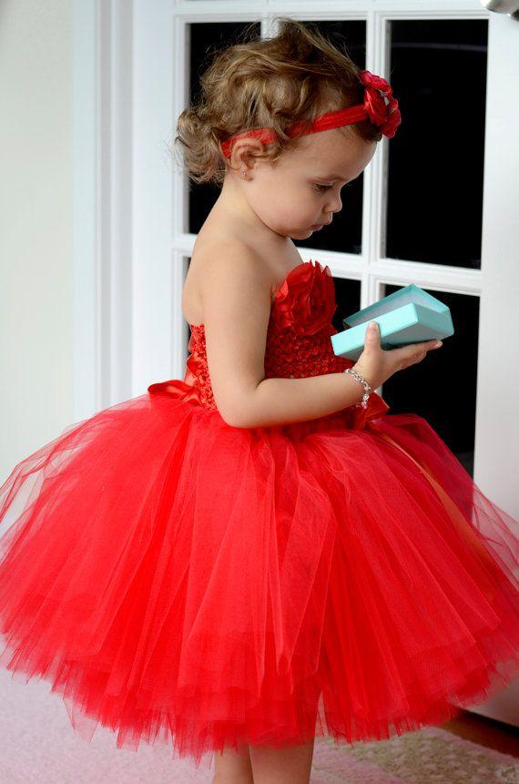 Tutu two piece  Dress/ Toddler Tutu/ 2 Piece Set/ 18 months-2 1/2 year old  T/Flower Girl/Christmas tutu/ Red tutu /Christmas red tutu