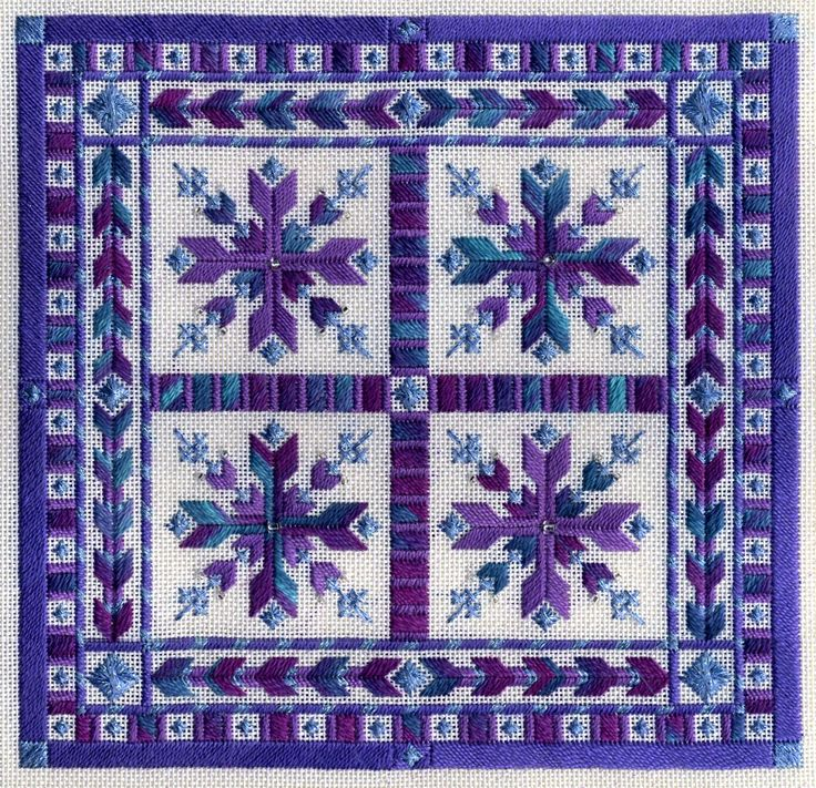 """'Nordic Snowflakes' canvas embroidery Sampler Collection  from Laura J Perin. Watercolours 192 - """"Elderberry Wine"""" with DMC #5 pearl cotton 208 and 333, along with YLI Ribbon Floss 148-109 (or Kreinik 1/16th Ribbon 3514)"""