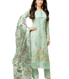Buy White georgette embroidered semi stitiched salwar with dupatta party-wear-salwar-kameez online