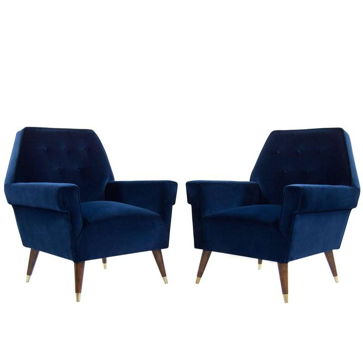 Best Italian Navy Blue Velvet Lounge Chairs With Splayed Legs 1 400 x 300