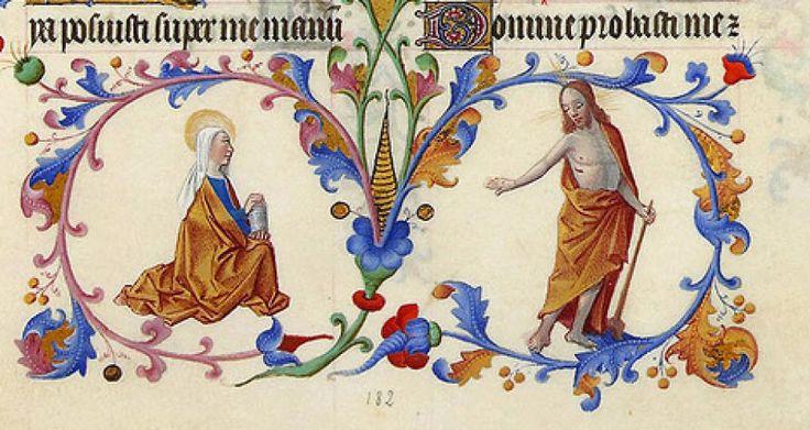 """MARIA MAGDALENA JEAN COLOMBE.   Мария Магдалина и Иисус. """"Не прикасайся ко мне!"""". Жан Коломб (1430/35 - 1493), Великолепный часослов герцога Беррийского."""