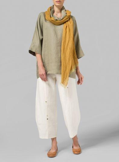 MISSY Clothing - Cross Stitch Linen Oversize Top