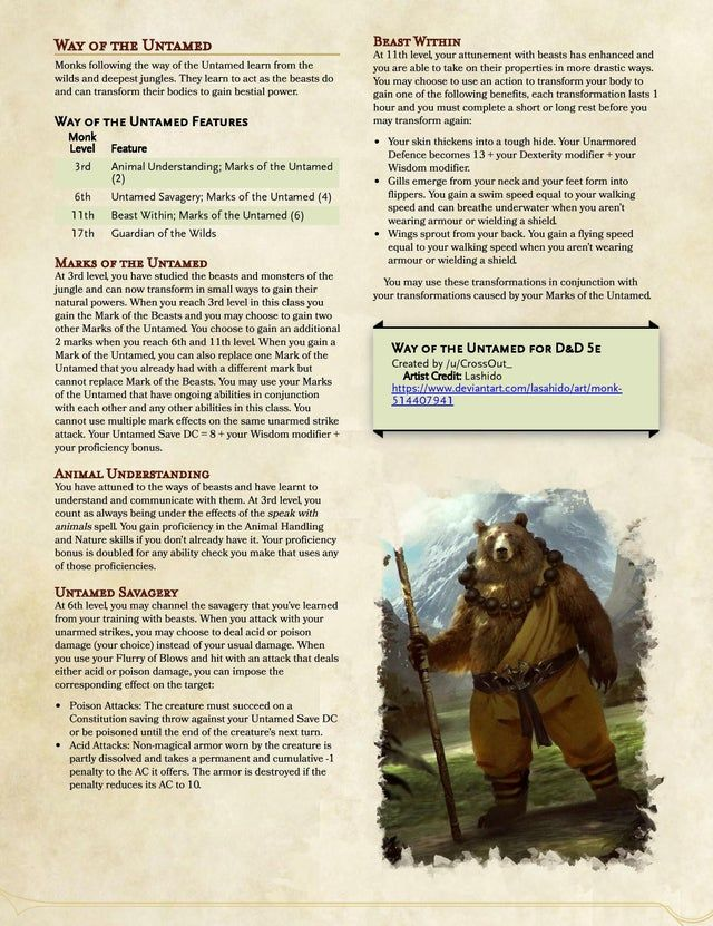 Way Of The Untamed V1 2 5e A Monk Subclass From The Wilds And Deepest Jungles Unea Dungeons And Dragons Classes Dnd Classes Dungeons And Dragons Homebrew
