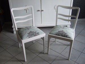 Krzesełka lata 40 te w bieli .