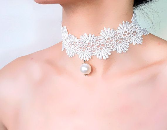 white lace choker pearl charm beaded / wedding bridal by LaceFancy