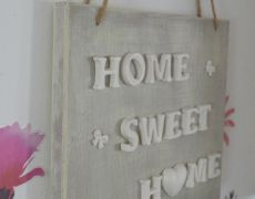 Home Sweet Home wood deco plate with ceramics letters