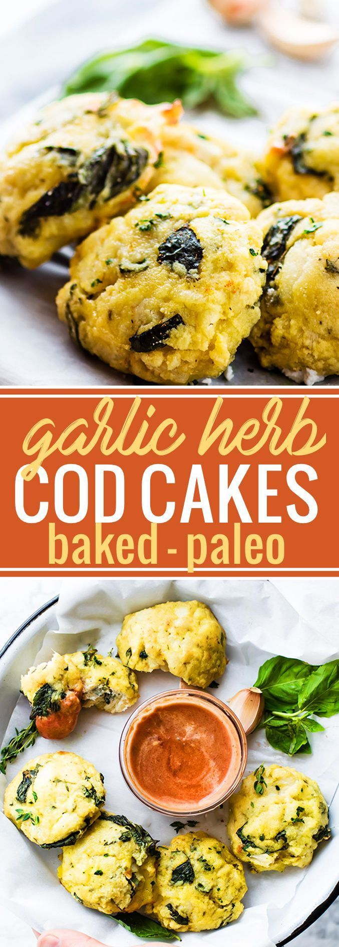 Paleo Garlic Herb Baked Cod Cakes with a creamy marina sauce! A light, easy, and paleo friendly baked cod fish cake recipe you'll want to make again and again. Serve with a flavorful marinara sauce for a light appetizer or low carb meal.