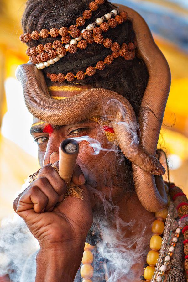 Sadhu with live snake & chillum, Varanasi, India