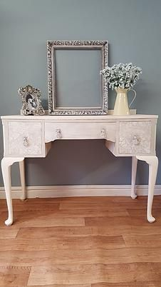Dressing table painted in Frenchic chalk paint clotted cream with rustic wax