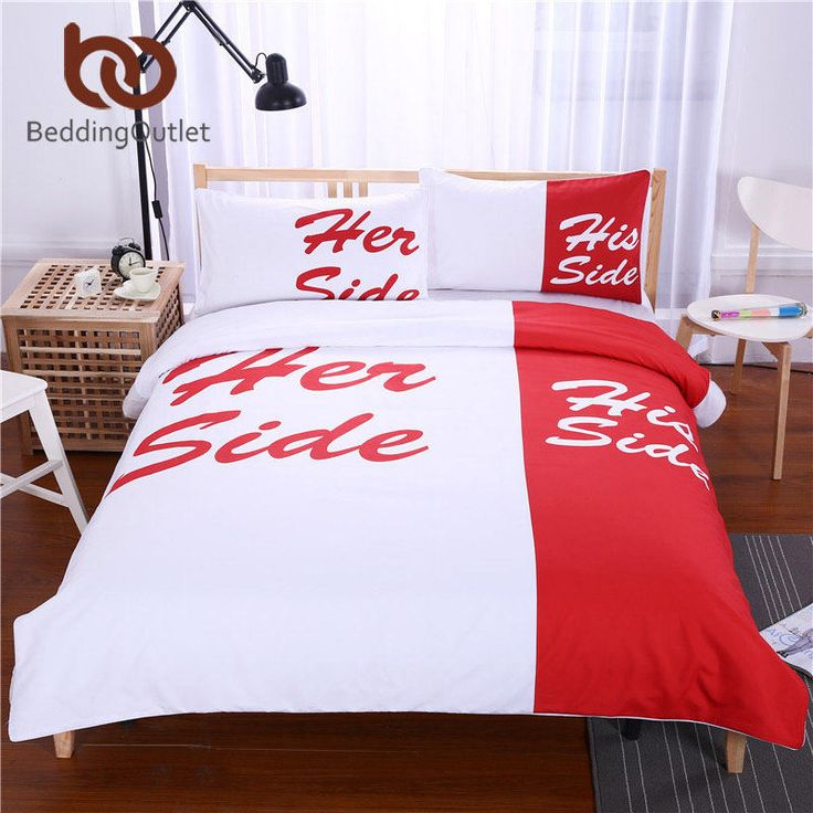 BeddingOutlet Red Bedding His Side & Her Side Duvet / Quilt Cover Cozy Bedclothes for Home 3Pcs Queen King