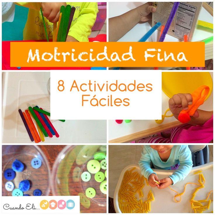 Recopilación de actividades de muy fácil preparación que ayudan en el desarrollo de la motricidad fina con materiales que usualmente tenemos en casa