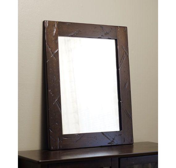 Distressed Wood Mirror Bathroom Dark Brown Rustic Barnwood Dark Mirrors For Bathrooms And