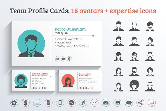 Team Profile Business Cards Template Graphics Team profile cards including 18 male & female avatars   expertise/skills icons - suitable for te by vekstok