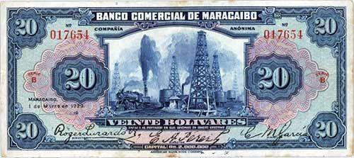 Pieza bbcm20bs-aa02-b6 (Anverso). Billete del Banco Comercial de Maracaibo. 20 Bolívares. Diseño A, Tipo A. Fecha Marzo 01 1929. Serie B6