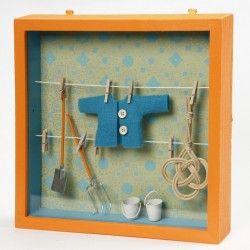 3D Κορνίζα με σκοινάκι και μανταλάκια. 23 Χ 23εκ. | craftbox.gr