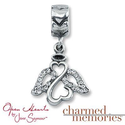 Charmed Memories Open Hearts Angel Charm Sterling Silver in memory of Bradley
