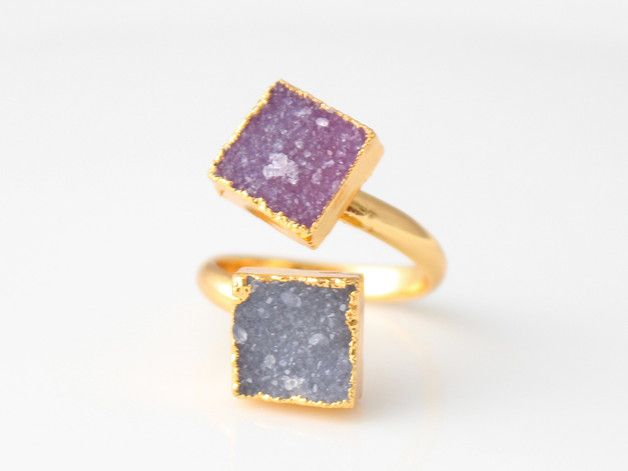 Auffällige Ringe in Gold mit bunten Steinen, Statement Ringe / extravagant gold rings with colorful stones, statement rings made by glückundseligkeit via DaWanda.com