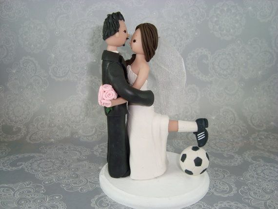 Bride & Groom Soccer Fans Customized Wedding Cake by mudcards, $150.00