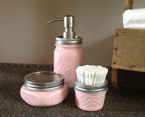 The Original 3 PC Soft Ballerina Pink, Mason Jar, Bath Accessories, Nursery, Pastel, Lotion, Accessories, Nursery, Decor, Talona Rustics