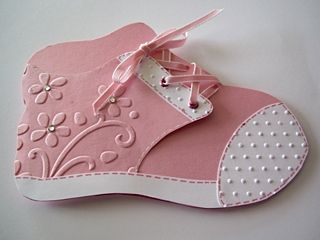 adorable little baby shoe in pink...