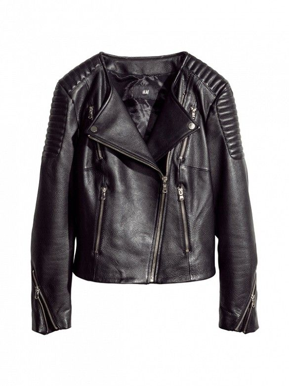 The most versatile black leather jacket. // Leather Biker Jacket by H&M