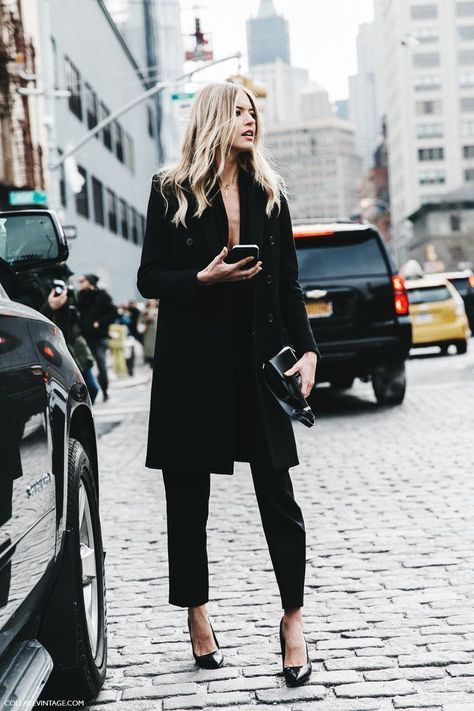 Rock all black in high heels, slightly cropped pants, and a low-cut blouse paired with a long coat. Let DailyDressMe help you find the perfect outfit for whatever the weather!