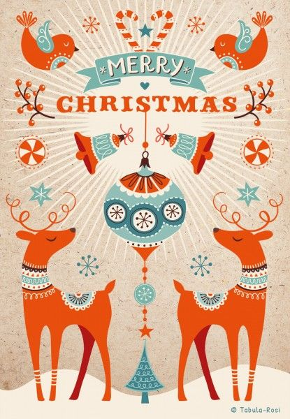 A beautiful illlustration made by Tabula Rosi that includes reindeer, Christmas ornaments, birds, candy canes and snowflakes.