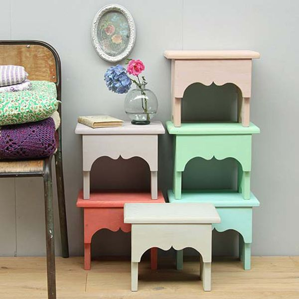 Pastel Painted Wooden Stools Country Cottage Furniture