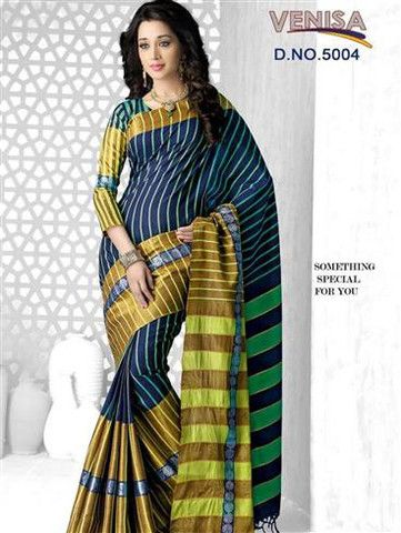 Venisa 5004 - Midnight Blue and Multicolor Cotton Silk Saree