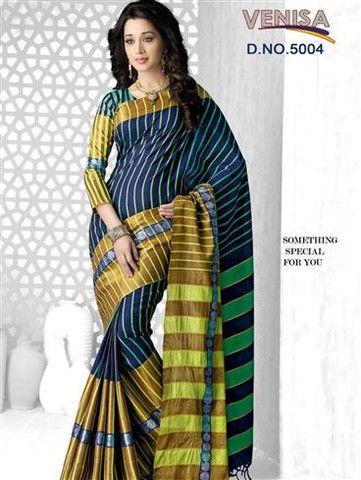 Venisa 5004 - Midnight Blue and Multicolor Cotton Silk Saree