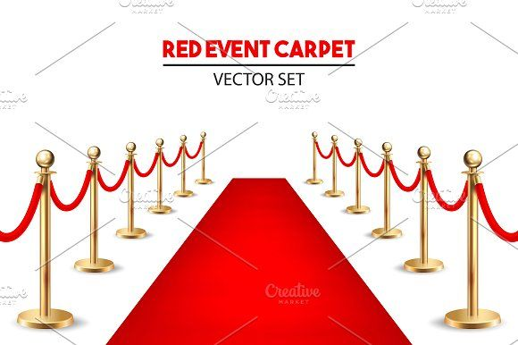 Red event carpet set.  by gomolach on @creativemarket
