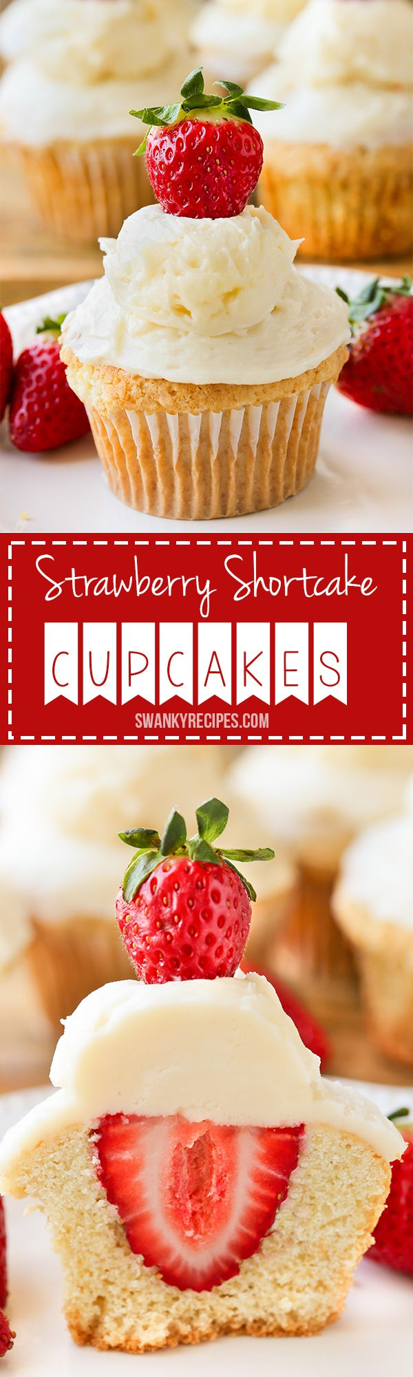 Strawberry Shortcake Cupcakes - Classic southern Strawberry Shortcake Cupcakes with a surprise strawberry stuffed inside and frosting that won't melt.