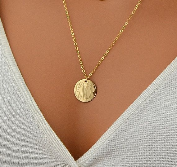SALE 10% Large Disc Necklace, monogram Necklace, Gold Necklace, Circle Initial Necklace, Rose Gold, 14k Gold Fill, Sterling Silver Name Disc by malizbijoux. Explore more products on http://malizbijoux.etsy.com