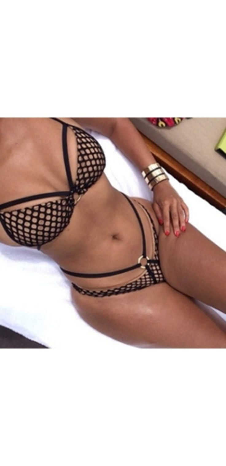 Beige Black Fishnet Cut Out Halter Top Sexy Low Waist Brazilian Bottom Two Piece Bikini Swimsuit