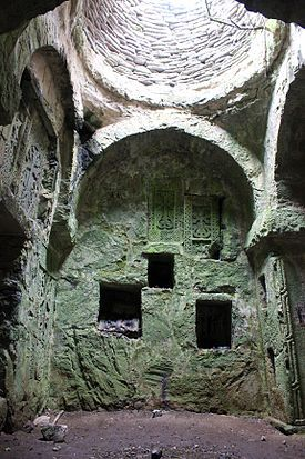 Matosavank Monastery - Dilijan National Park, Dilijan, Tavush, Armenia. Khachkars, Armenian memorial cross stones, carved into the walls...