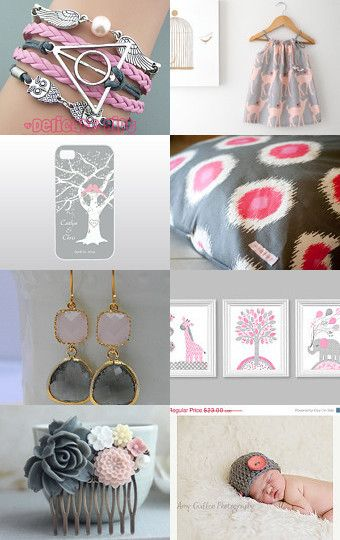 Grey And Pink  by Needle And Line on Etsy--Pinned with TreasuryPin.com