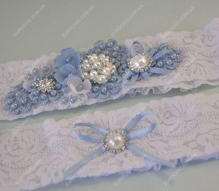 Набор подвязок Blue flowers бело-голубые