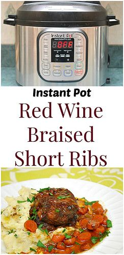 Instant Pot Red Wine Braised Short Ribs are English style short ribs slow braised in red wine and classic aromatics, fresh herbs and chicken broth which taste as if they were cooked for hours. So quick and easy in the instant pot! | What's Cookin, Chicago?