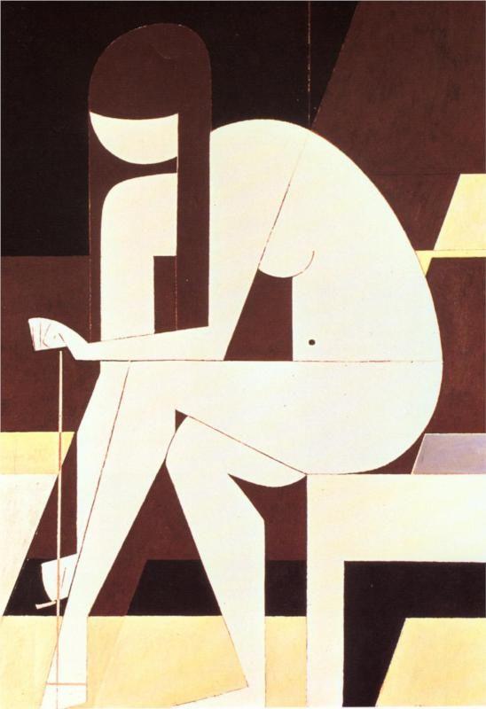 Girl Untying Her Sandal - Yiannis Moralis, 1973