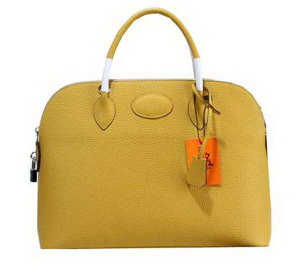 Hermes Bolide 37CM Calfskin Leather Tote Bags H509084 Yellow - $309.00