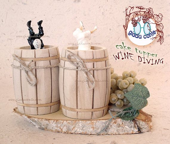Cake topper WINE DIVING  decorazione torta o tavolo sposi per