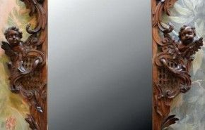 """Late 18th Century Italian Walnut Carved Mirror w/Cherub Motif - 47""""L   58""""H – ID# 1366 - $9,500.00 #antiques #Italian Walnut Carved Mirror w/Cherub Motif"""