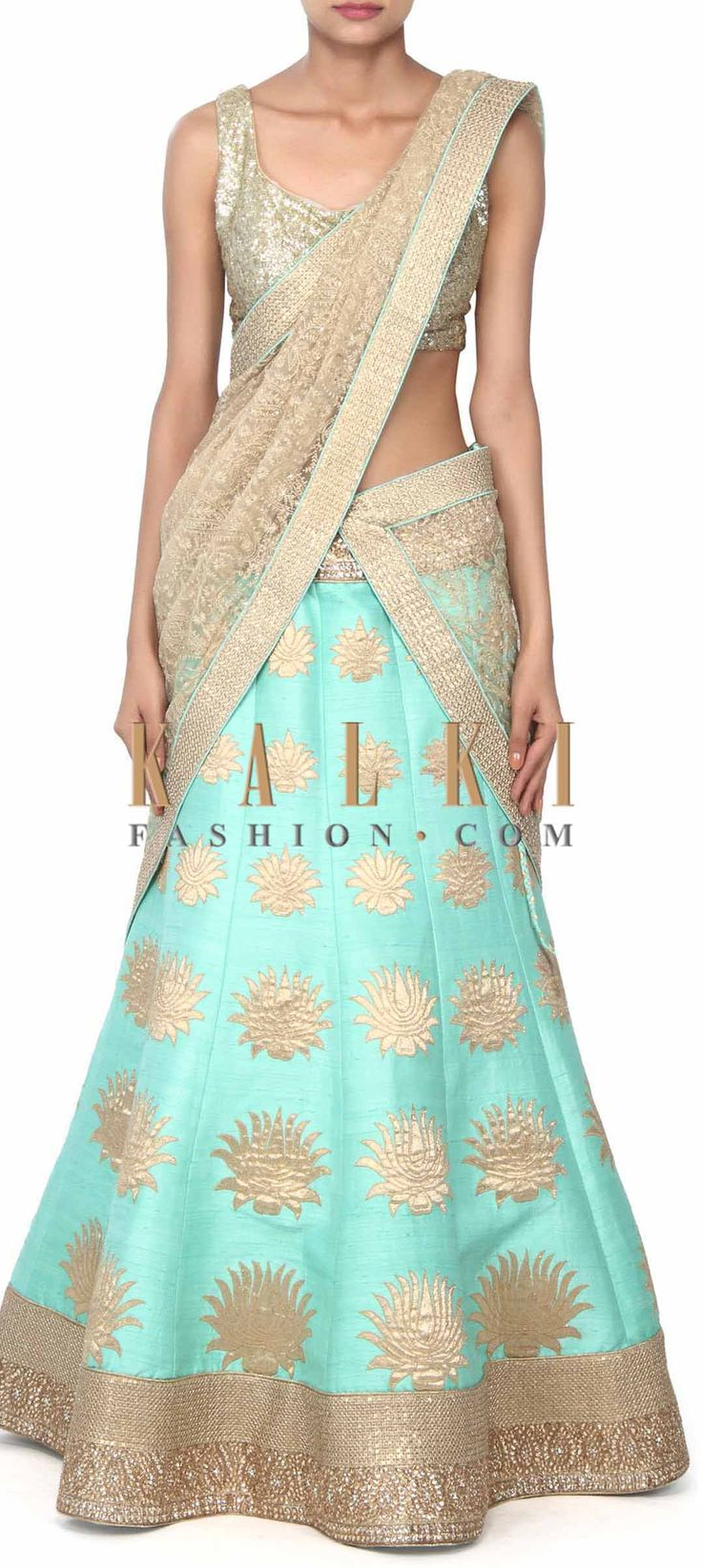 Buy this Sea green lehenga adorn in applique embridery only on Kalki