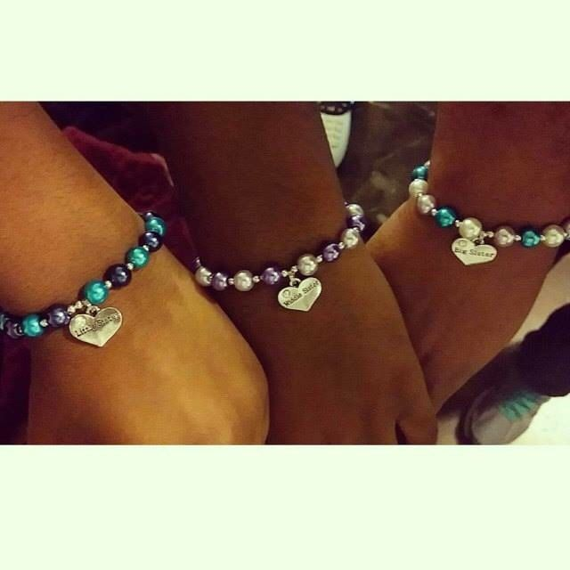 Sister bracelets. These are one of our absolute best sellers! Available in big sister, middle sister, little sister, or just sister. We have heart charms for other family members like mom and grandma. http://etsy.me/1UeVht3