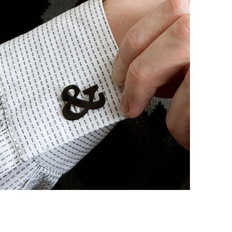 Ampersand Faux Cuff Links  Wear them like regular cuff links on French cuff shirts, or as button covers on pre-buttoned cuffs. USD $49.00